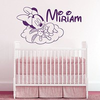 Wall Decals Personalized Name Minnie Mouse Vinyl Sticker Decal Custom Name Girls Boys Initial Monogram Children Baby Decor Nursery Kids Room Bedroom Art NS916