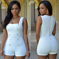 White and Gold Buttons Romper
