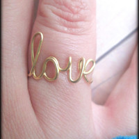 Wire love ring - Word ring - Adjustable or non adjustable - Brass - Gold color - Unique bridesmaid gift - Gift boxed - Free shipping