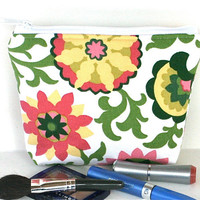 Makeup Bag/Zippered Padded Pouch Flat Bottom in Pink Green Floral
