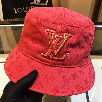 LV New fashion monogram embroidery letter couple cap fisherman hat Red