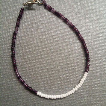 Lilac Mix and Opaque White Seed Bead Bracelet