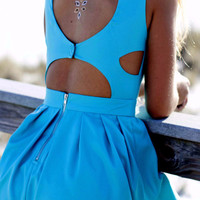 The Heart Wants What It Wants Aqua Heart Cut Out Dress