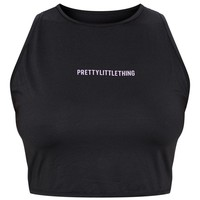 PRETTYLITTLETHING Plus Black High Neck Snake Back Gym Top