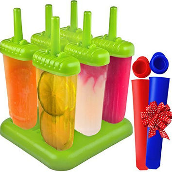 Popsicle Molds with BPA Free Silicon Ice Pop Maker for Pudding, Kids, Baby, Infants, Toddlers, Fudge, Organic Food By IceWabanga - Will Not Melt and Leak Even a Bit - 3 Years Warranty