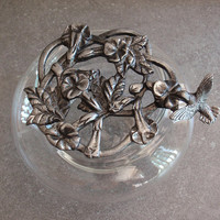 Glass Potpourri Bowl Pewter Lid Metzke 1986 Hummingbird Floral Morning Glories Vintage 050418SB