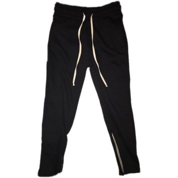 Black Tapered Sweatpants w/ Ankle Zippers