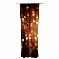 "Susan Sanders ""Copper Gold Glitter Lights"" Gold Brown Bokeh Holiday Photography Decorative Sheer Curtain"
