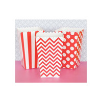 Popcorn Boxes - Red Chevron Polka Dot or Stripe for Candy Bar - Wedding Favors Party Favor
