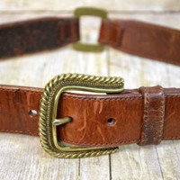 Fossil Leather Segment Belt Brown Size Medium Womens