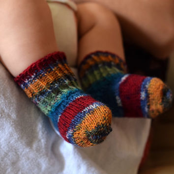 Thin wool baby socks, blue mint red orange striped, thin wool baby booties, handknit, size 3-6 month ready to ship