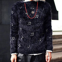 Men's Winter New Thickened Notes Korean Mohair Sweaters