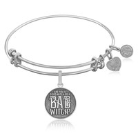 Expandable Bangle in White Tone Brass with Good Witch Bad Witch Symbol