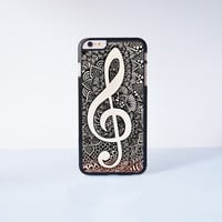Musical Note Mandala Plastic Case Cover for Apple iPhone 6 Plus 4 4s 5 5s 5c 6