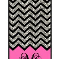 iZERCASE Monogram Personalized Pink Grey and White Chevron Pattern iphone SE / iPhone 5S case (NOT ACTUAL GLITTER) - Fits iphone SE, iPhone 5S T-Mobile, AT&T, Sprint, Verizon and International (Black)