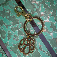 Initial J Keychain in Gold