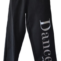Dance Sweatpants in Black with Silver Glitter Lettering