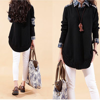 Black false two pieces sweater dress knitwear dress large loose knitted sweater tshirt sweater dress plus size sweater cotton blouse tops