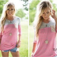 Stripe Patchwork T Shirt with Pocket