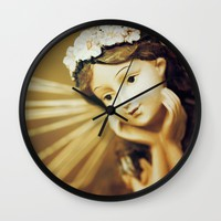 Daydreamer - Vintage Angel Wall Clock by Legends Of Darkness Photography