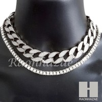 "Hip Hop Silver Iced Out 16"" Iced Out Choker 4.5mm Solitaire Lab 18"" Tennis Chain"