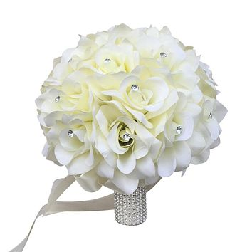 Rose Bouquet-Artificial Open rose with rhinestone