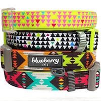 """Blueberry Pet Soft & Comfortable Vintage Tribal Pattern Adjustable Neoprene Padded Dog Collar in Extravagant Green, Neck 12""""-16"""", Small, Collars for Dogs"""