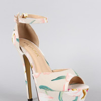 Liliana Floral Ankle Strap Stiletto Platform Pump Color: Beige, Size: 7