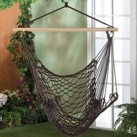Brown Cotton Rope Hanging Hammock Chair