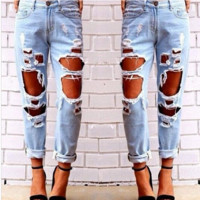 Personality Fashion Irregular Ripped Worn Hollow Beggar Long Pants Jeans