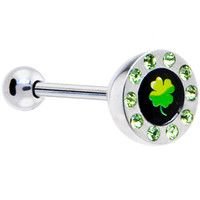 Green Gem Paved Half Dome Clover Logo Barbell Tongue Ring | Body Candy Body Jewelry