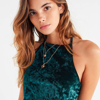 UO Hallie High-Neck Velvet Top   Urban Outfitters