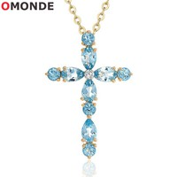 OMONDE New Arrival Gold Copper Cross Pendant Necklace 45cm Chains Blue Shiny Stone Wedding Party Jewelery for Women Girl Friend