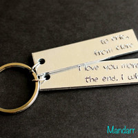 Personalized Double Tag Keychain, I Love You More The End I Win, To and From, Custom Names, Wedding Gift, Anniversary, Couples Key Chain