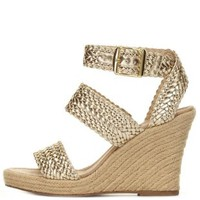 Champagne Braided Espadrille Wedge Sandals by Charlotte Russe