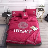 Red Luxury VERSACE Designer Home Blanket Quilt coverlet 2 Pillows Shams 4 PC Bedding Set