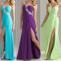 Sexy Bridesmaid Long Ball Prom Birthday Gown Women Party Formal Evening Dress