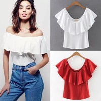 Summer Sexy Strapless Leaf T-shirts [8173498695]
