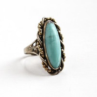 Vintage Art Deco Silver Tone Simulated Turquoise Ring - Teal Blue Art Glass Cabochon Filigree Adjustable Statement Costume Jewelry