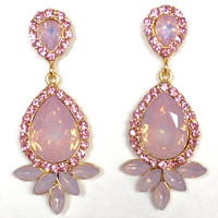 Iridescent Pink Champagne Crystal Earring