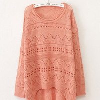 Pink Green Curved Hum Knit Holey Te.. on Luulla