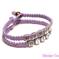 Carpe Diem, Seize the Day, Lavender Handmade Hemp Jewelry, Silver Tone Cube Letters, Gifts for Her
