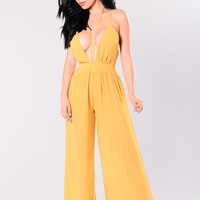 Meet Me Off Sunset Jumpsuit - Mustard