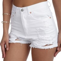 White Show Off Destroyed Shorts