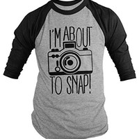 Shirts By Sarah Men's Funny Hipster I'm About To Snap Camera Photographer 3/4 Sleeve Shirts
