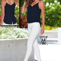 NAVY Chain strap top, slimming jegging from VENUS