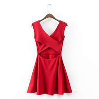 Solid Cross Backless Mini Pleated Dress
