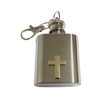 Gold Toned Classic Religious Cross 1 Oz. Stainless Steel Key Chain Flask