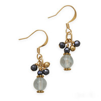 Gold Tone Blue Quartz and Black Czech Glass Beads Crush Fashion Earrings
