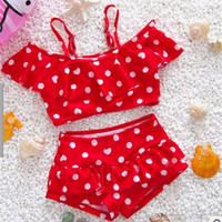 High Quality Children's swimsuit girls wave point princess girls bathing swimsuit Girls two piece swimwear swimming suit